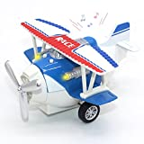 Joy-Fun Toys for 3-8 Year Old Boys Die-cast Toy Airplane Pull-back Toy Vehicles Aircraft with Lights & Sounds Kids Gift JF-UK-Plane Blue