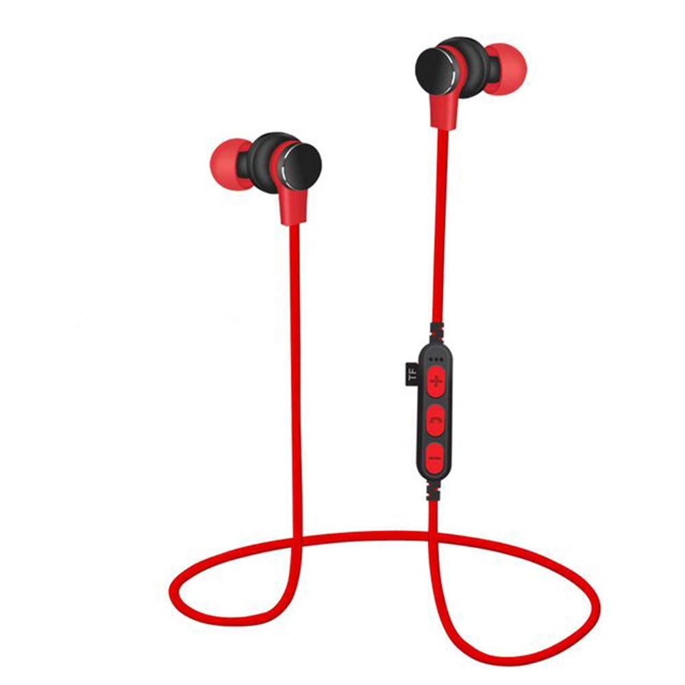 WWK Sports Bluetooth Headphones, Bluetooth 4.2 Neck-Mounted Headphones IPX8 Waterproof UHP Sound Quality Stereo Magnetic Secure Fit for Sports Gym Travelling,Red by WWK