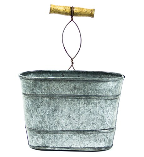 Farmhouse Galvanized Hanging Bucket, Small (Flower Bucket Stand)