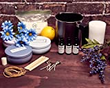 Natures Blossom Candle Making Kit - Make 3 Scented Soy Candles. A Complete Beginners Set With 1.5 lb. Soy Wax, Melting Pitcher, Tin Containers, Wicks, Lemon, Lavender & Chamomile Fragrances & more