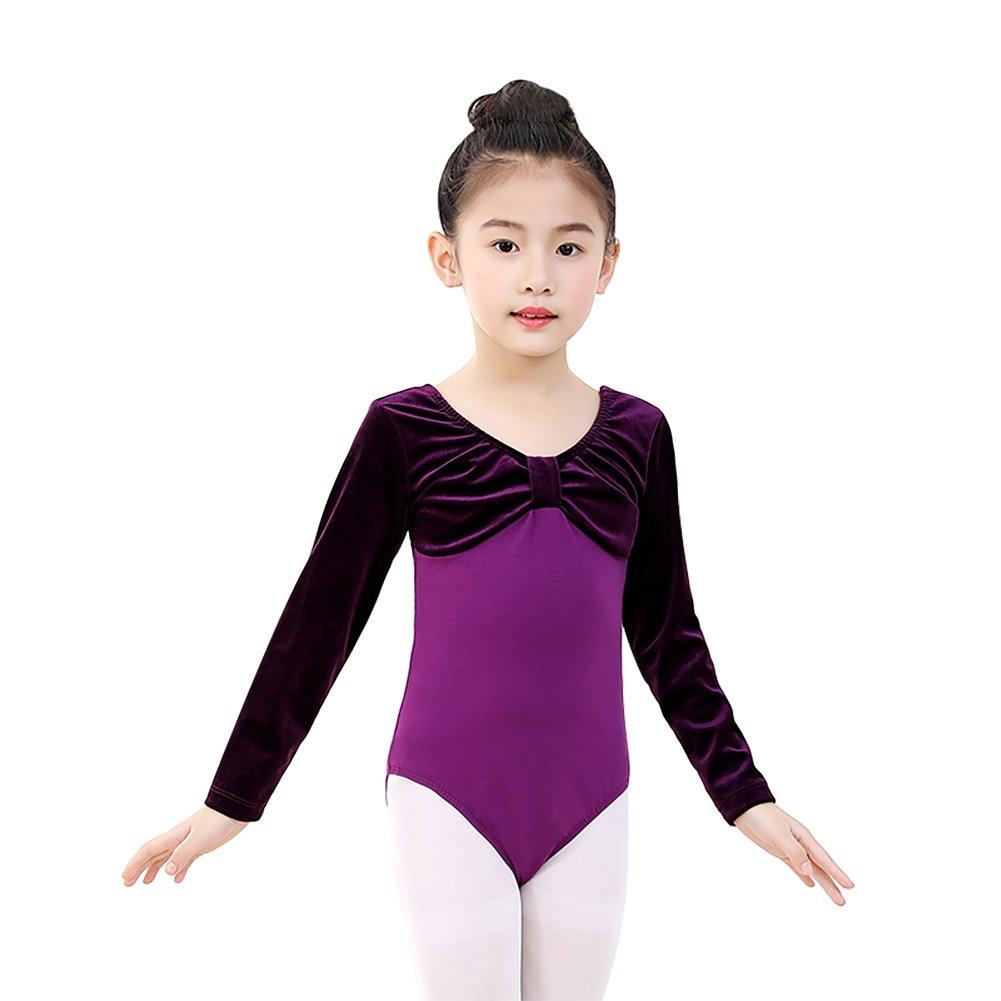 Einteilige Mä dchen Ballett Trikots Dancewear Kinder Kinder Langarm Fliege Athletische Gymnastik Kostü me Bodys