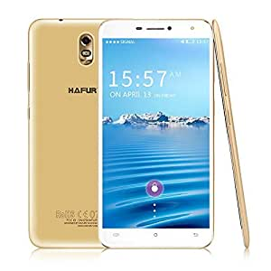 Unlocked Android 7.0 Smartphones, HAFURY UMAX 1.3GHz Quad Core SIM Free with 6.0'' HD IPS Touch Display, 4500mAh, Dual SIM/Dual Camera (13MP + 5MP), WiFi/GPS, 2GB RAM+16GB ROM, 3G (Gold)