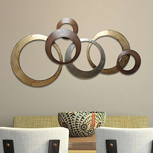 Wall Decor with Handmade Metallic Ring Design in Gold and Brown