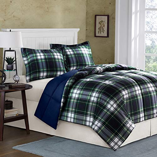 Kaputar Soft Classic Cozy Blue Navy Green Grey Yellow Cabin Plaid Stripe Comforter Set | Model CMFRTRSTS - 1597 | Twin