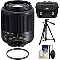 Nikon 55-200mm f/4-5.6G DX AF-S ED Zoom-Nikkor Lens with Filter + Case + Tripod Kit for D3200, D3300, D5300, D5500, D7100, D7200 Cameras