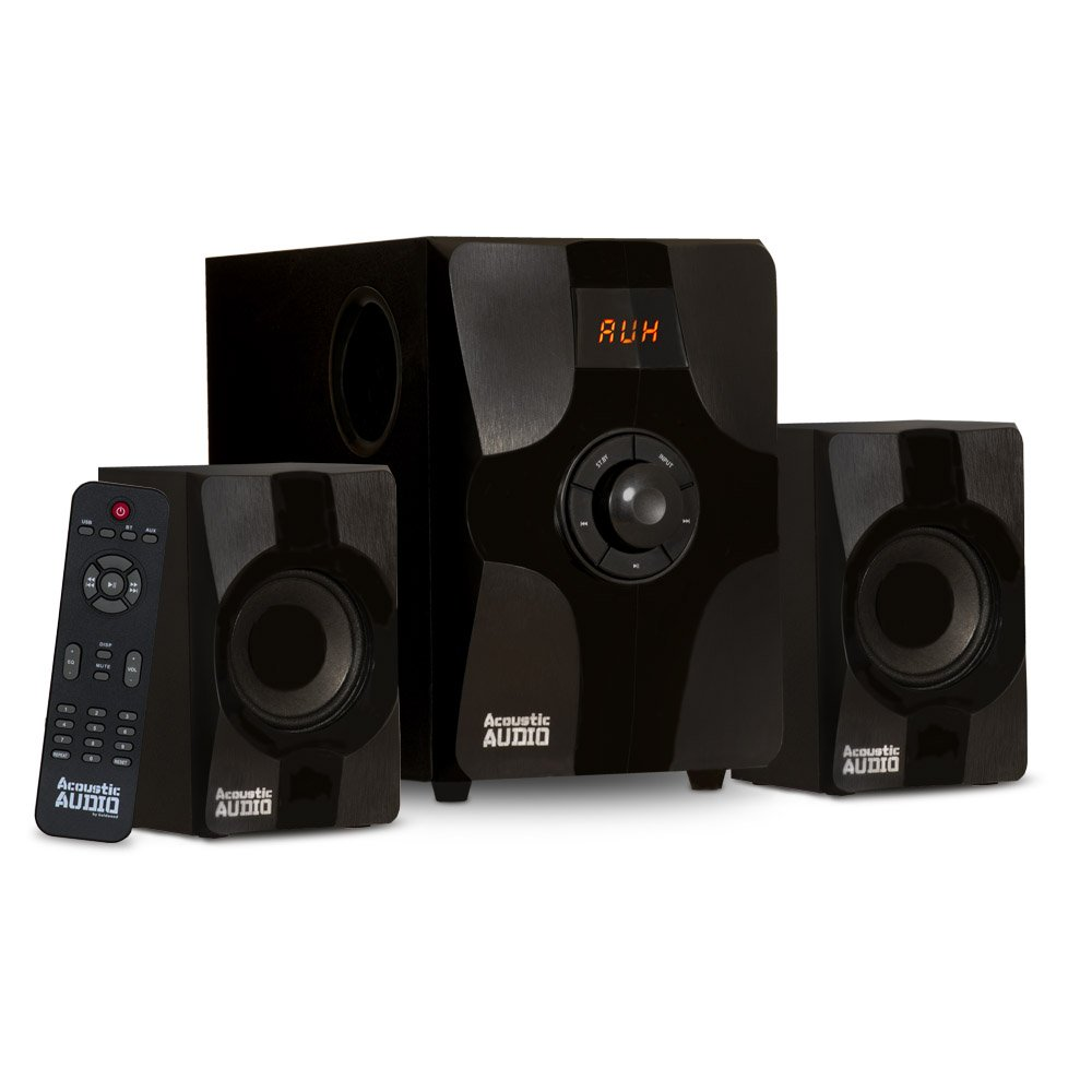 Acoustic Audio AA2131 Bluetooth Home 2.1 Speaker System Multimedia Computer Gaming