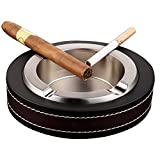 Teniusi Cigar Ashtray,Leather Stainless Steel Tabletop Ashtray for Cigarette,Cigar Ashtray for Indoor and Outdoor Use,Ash Holder (Silver)