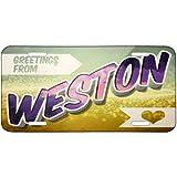 Metal License Plate Greetings from Weston, Vintage Postcard - Neonblond