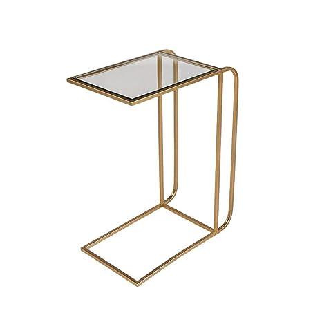 Amazon.com: Xiaolin Mesa auxiliar de cristal mesa de café ...