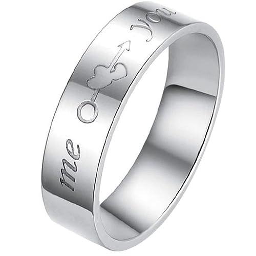 Brazalete de acero inoxidable de corazones JewelryWe amantes tú y yo par de los anillos de boda para Mujer banda compromiso promesa Eternity (6 mm): ...