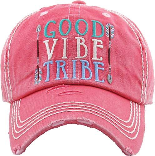 H-212-GVT52 Distressed Baseball Cap: Good Vibe Tribe, Coral