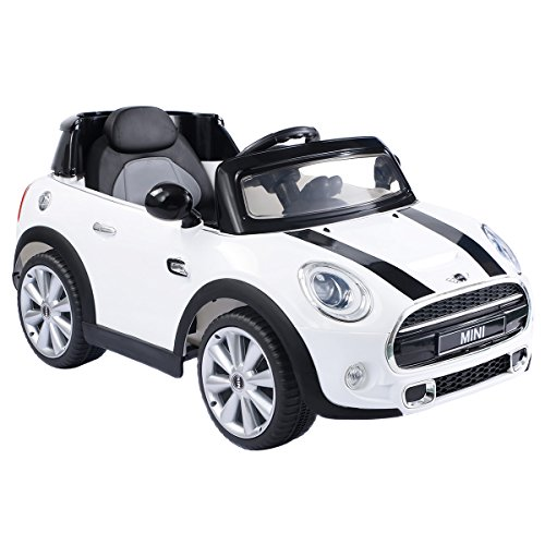 Costzon Ride On Car, Licensed BMW Mini Cooper Electric Car, 12V Battery Powered Kids Vehicle with Manual/Parental Remote Control Modes, MP3 Port, Headlights, Music, High/Slow Speeds (White)