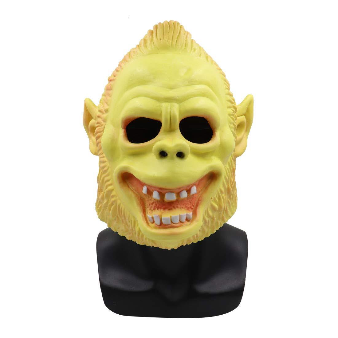 Halloween Mask,Meetsunshine Scary Animal Orangutan Latex Mask with Hair Cosplay Helmet Halloween Costume for Men Women Boy Girl Kids by Meetsunshine Halloween