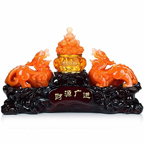 Large Size Feng Shui Pi Yao/Pi Xiu and Treasure Basin Wealth Porsperity Figurine+ Free Set of 10 Lucky Charm Ancient Coins on Red String, Best Housewarming Congratulatory Gift (Large Size) ()