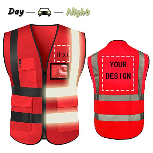 (High Visibility Safety Vest Custom Your Logo Protective Workwear 5 Pockets With Reflective Strips Outdoor Work Vest (Red))