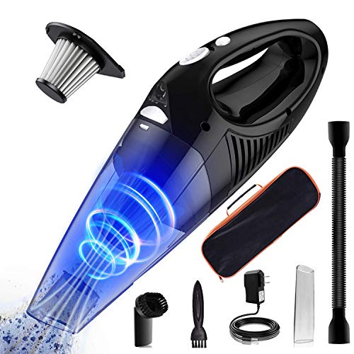 BJKing Handheld Vacuum, 6500PA Wet Dry Cordless Vacuum Cleaner with Stainless Steel HEPA Filter, Quick Charge Tech, with Carrying Bag, Powerful Cyclonic Suction for Home Pet Hair, Car Cleaning