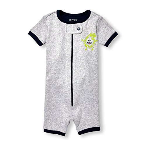 Graphic Knit Blanket (The Children's Place Baby Boys Short Sleeve Printed Stretchie, H/T Mist 2, 3-6MONTHS)