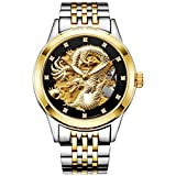 FNGEEN Men's Luxury Dragon Design Dial Gold Plating Automatic Mechanical Gold watch For Men