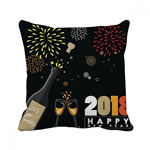 2018 Alcohol Wine Glass Fireworks New Year Square Throw Pill
