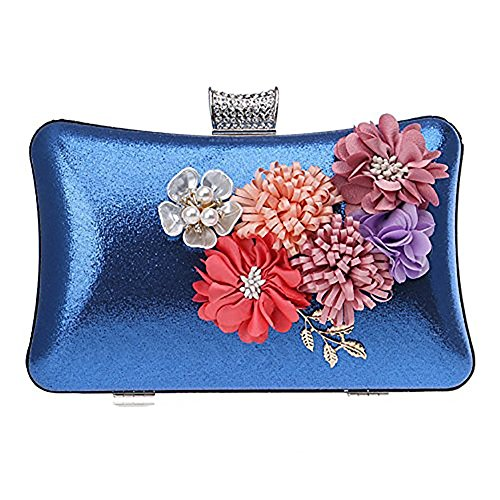 Clutch Bag Sacs SoirÉE Mariage Fleur Main À Purse Embrayages Evening Femmes De Bleu Sacs Pearl 7RwAqxf