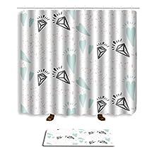 Mrsrui Printing Fabric Shower Curtain Doormat Bathroom Mats Carpet Non Toxic Eco-Friendly Home Decorations (Four)