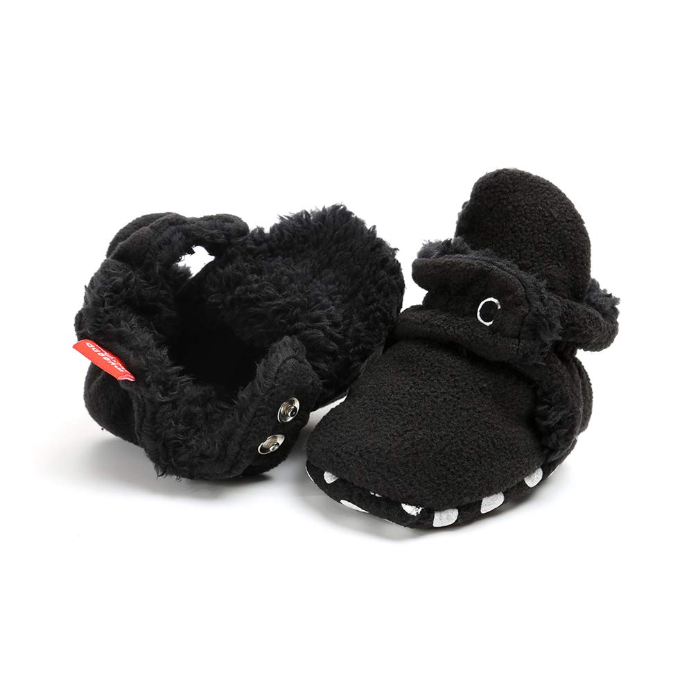 Newborn Cozie Fleece Bootie, Unisex Infant Toddler Slippers Crib Shoes Warm Boots with Non Skid Bottom Neband