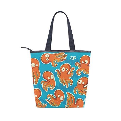 Tote Bag Womens MyDaily Cartoon Handbag Canvas Funny Octopus Shoulder tdSZxSgq