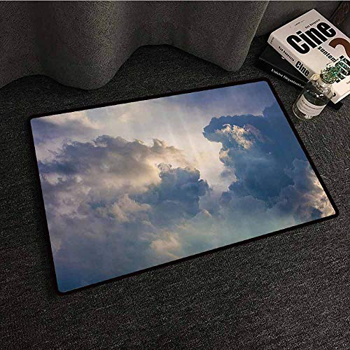 Apartment Decor Interior Door mat Majestic Rain Storm Clouds Over The Sky High Above The Ground Environment Eco Scenery Durable W35 xL59 Blue White