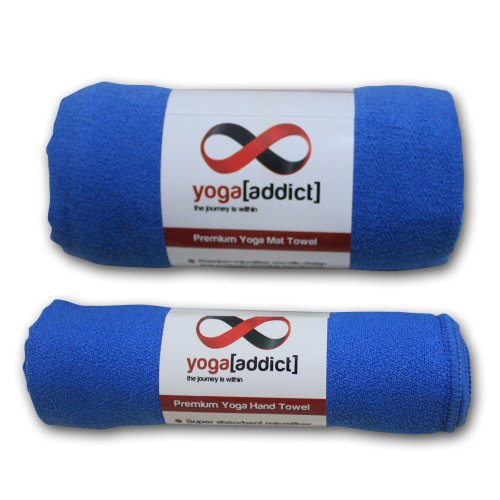 Yogaaddict Yoga Mat Towel And Hand Towel Combo Set: Yoga Mat Towel And Hand Towel Set