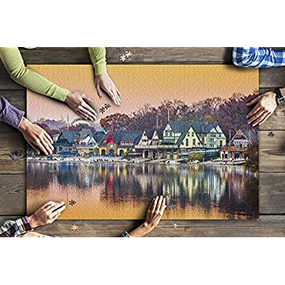 Pennsylvania - Philadelphia Boathouse Row at Dusk 9030344 (Premium 1000 Piece Jigsaw Puzzle for Adults, 20x30, Made in USA!): Toys & Games