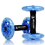 5BILLION Ab Wheel Roller - Double Exercise Wheel & Core Abdominal Wheel - Workout for Abs, Back, Arms, Shoulders, Torso, Hips - Includes Kneeling Mat