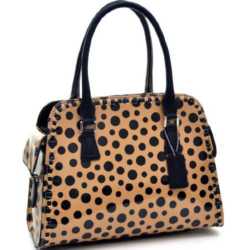 Fashion Handbag Polka Dot Shoulder Bag Top Zip Purse w/ Side Pockets Beige/Black (Top Satchel Zip Woven)