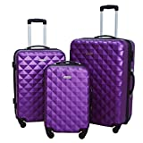 3 PC Luggage Set Durable Lightweight Hard Case Spinner Suitecase LUG3 SS577A PURPLE PURPLE