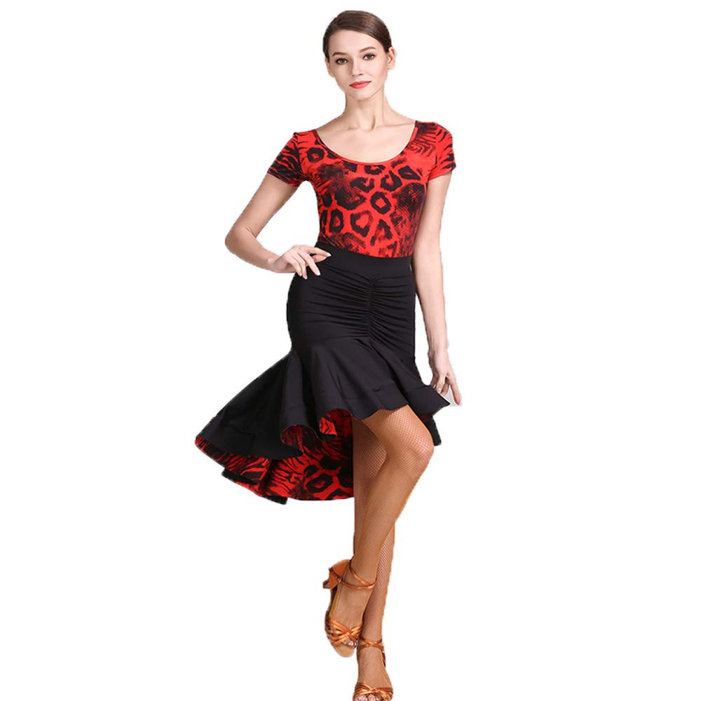 M Liu Sensen Practice Dance Sets Original Designs Falbala Leopard Grain Impressions Latin Belly Dance Costume HalFaibleeen Dance Dentelle Manches Longues Volumineuse Jupe Grande Taille XL 2XL
