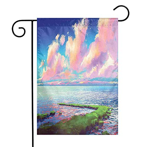 Mannwarehouse Landscape Garden Flag Sea After Mossy Rock Path Under Colorful Sky with Clouds Sunset Premium Material W12 x L18 Green Blue Pale and Pink