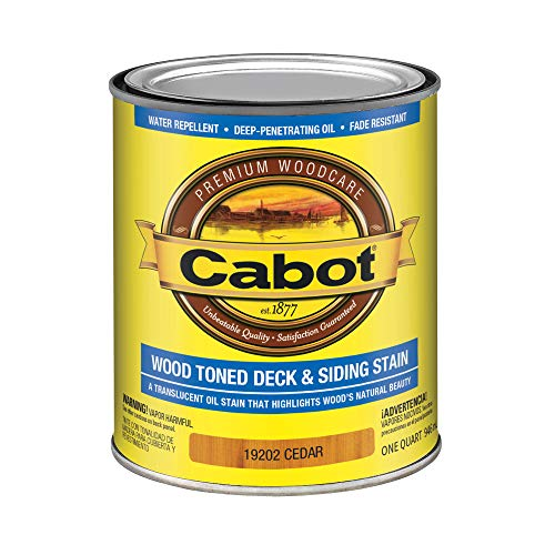 Cabot 140.0019202.005 Wood Toned Deck & Siding Low VOC Stain, Quart, Cedar