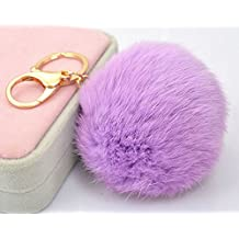 18 K Gold Plated Keychain with Plush Cute Genuine Rabbit Fur Key Chain for Car Key Ring or Bags 0025 (Color 15) by onlyou keychain