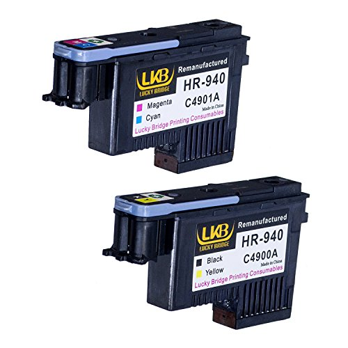 LKB HP940 Printhead 2PK C4900A C4901A Remanufactured Compatible for HP Officejet with Pro 8000 8500A 8500A Plus 8500A Premium(1BY, 1MC)-US