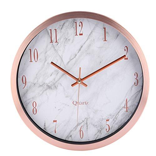 marble texture wall clock foxom   modern silent