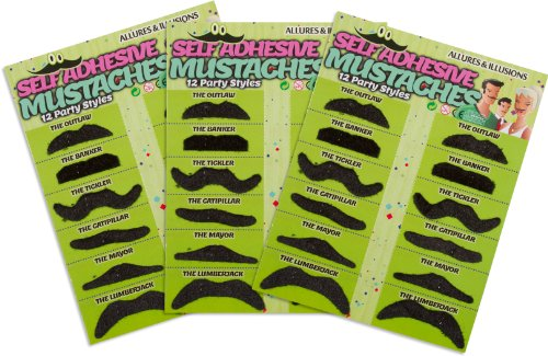 [Fake Mustaches - 36 Costume & Party Moustaches By Allures & Illusions] (Fake Mustache Kit)