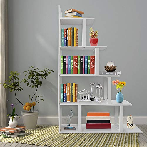 Seeutek Ladder Corner Bookshelf 5 Layer Bookcase Wood Display and Metal Book Shelf Vintage Industrial Rustic Bookshelf Open Storage Etagere Book Frame White (White Corner Etagere)