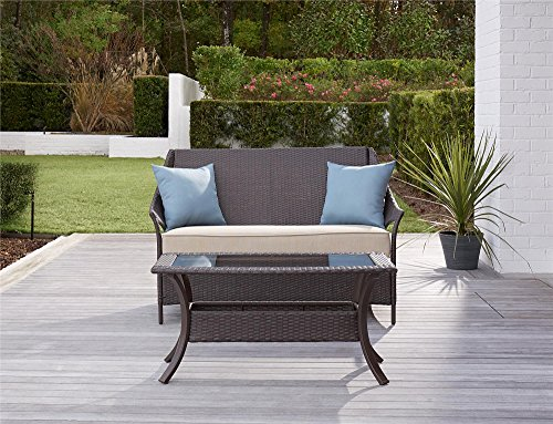 COSCO 88693BTBE Outdoor Living Lakewood Isle Deep Seating Patio Loveseat and Coffee Table, Dark Brown Wicker, Tan Cushions, Blue Pillows (Seating Deep Loveseat)