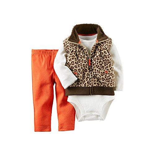 - Carter's Baby Girls' 3 Piece Print Fleece Vest Set (Baby) - Leopard - 24 Months