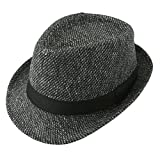 Unisex Classic Manhattan Fedora Hat Black Band Fashion Casual Jazz Wool Cap (Dark Grey)