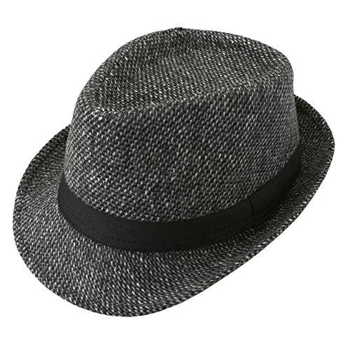 Unisex Classic Manhattan Fedora Hat Black Band Fashion Casual Jazz Wool Cap (Dark Grey) by Faleto