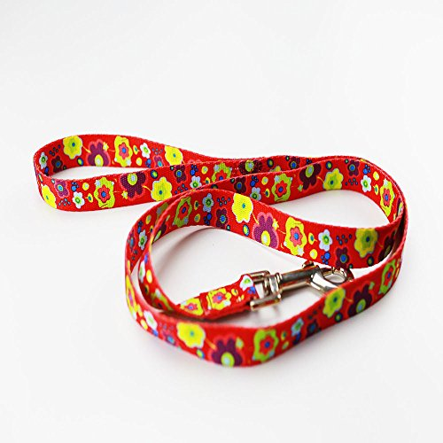 - Vehouse Premium Leash Durable Floral Print Designed Pattern Polyester Colorful Pet Dog Cat Leash for Small and Medium Breed, 4 colors, 4 feet length, 4/5 inch width (red)