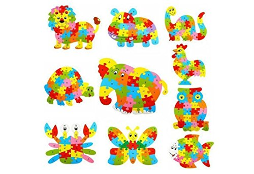 Fishinnen Colorful Wooden Animal Number and Alphabet Jigsaw Puzzle Educational Toy for Kids(Tortoise) by Fishinnen (Image #1)