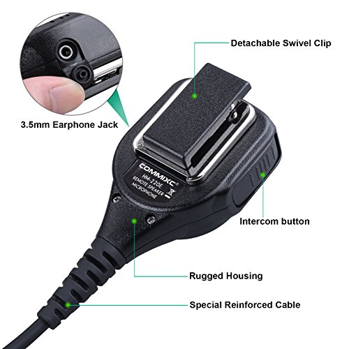 Commixc Walkie Talkie Handheld Speaker with PPT Mic, Waterproof IP55 Shoulder Microphone with External 3.5mm Earpiece Jack, Compatible with 2.5mm/3.5mm 2-Pin Motorola Two-Way Radios by COMMIXC (Image #2)
