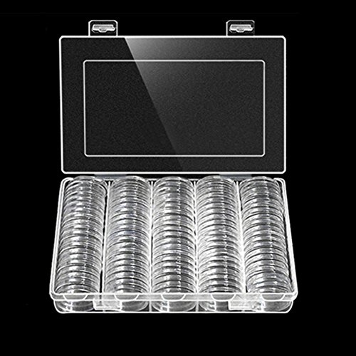 HongHong 100Pcs/Box 30mm Round Coin Storage Holder Plastic Display Case Collectibles Gift