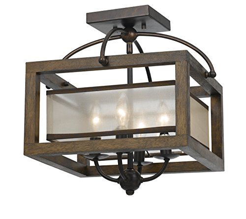 Cal Lighting FX-3536/1C, 16x16x16, Dark Bronze/Stained Reddi